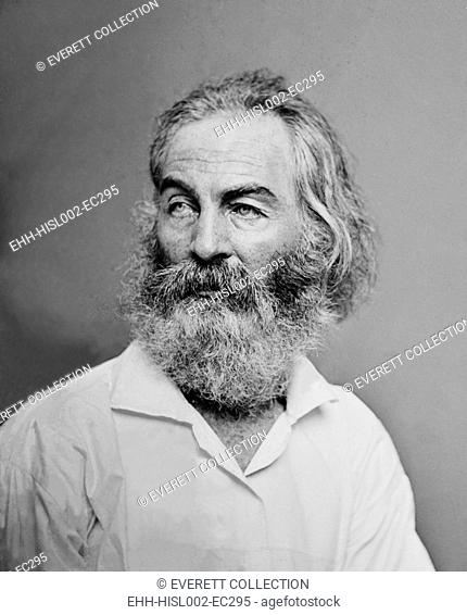 Walt Whitman (1819-1892) American poet, author, and journalist in portrait from Mathew Brady studio, ca. 1863