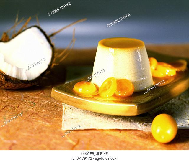 Coconut milk pudding with kumquats