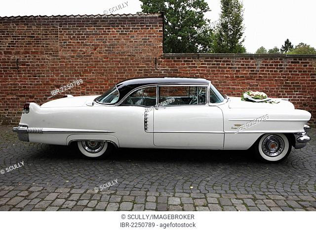 Vintage car decorated as a wedding car