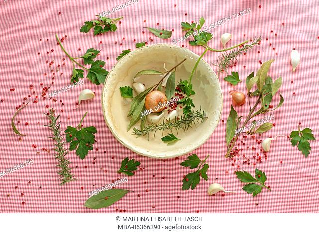 Arrangement made of Italian parsley and different herbs