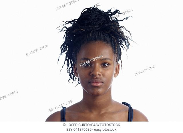 portrait of a girl african teen on white background