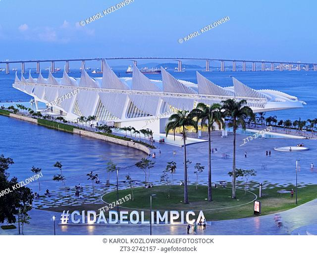 Brazil, City of Rio de Janeiro, Praca Maua, Museum of Tomorrow(Museu do Amanha) by Santiago Calatrava viewed from the rooftop of the Museu de Arte do Rio(MAR)