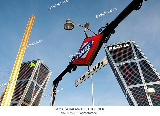 Metro Plaza de Castilla entrance, Calatrava obelisk and KIO Towers. Madrid, Spain