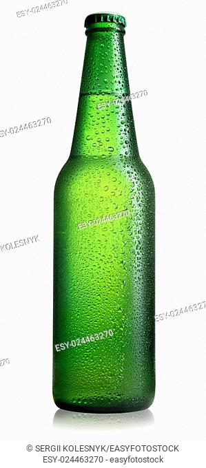Green bottle of beer isolated on a white background