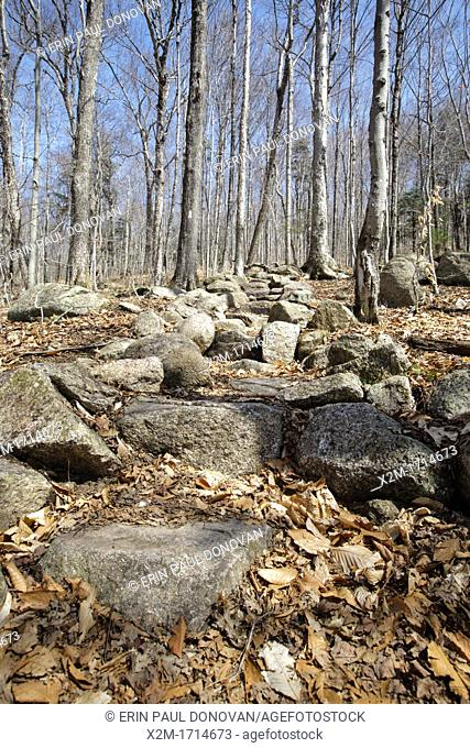 Rock steps along the Appalachian Trail Liberty Spring Trail in the White Mountains, New Hampshire USA