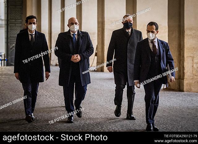 Vito Crimi, Antonio Licheri Davide Crippa of delegation of Movimento 5 stelle arrives at the Quirinale palace for the consultations with the Republic president