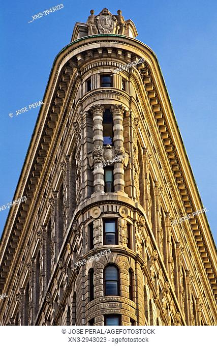 Flatiron Building, close-up of the apex, Fifth Avenue, Midtown, Manhattan, New York City, New York USA