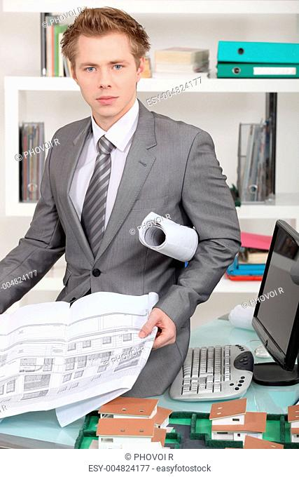 Male architect in office