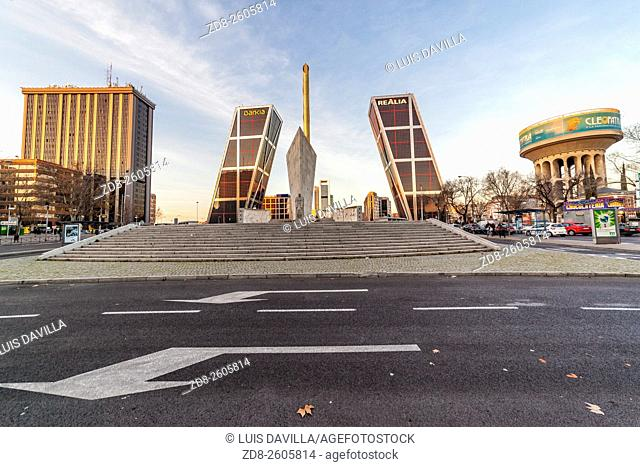 Puerta De Europa towers as viewed from Plaza de Castilla, madrid. spain