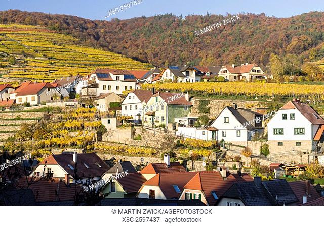 The medieval town of Weissenkirchen in the Wachau. The Wachau is a famous vineyard and listed as Wachau Cultural Landscape as UNESCO World Heritage