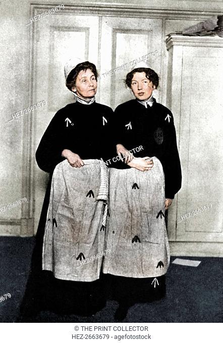 Emmeline and Christabel Pankhurst, English suffragettes, in prison dress, 1908. Artist: Unknown