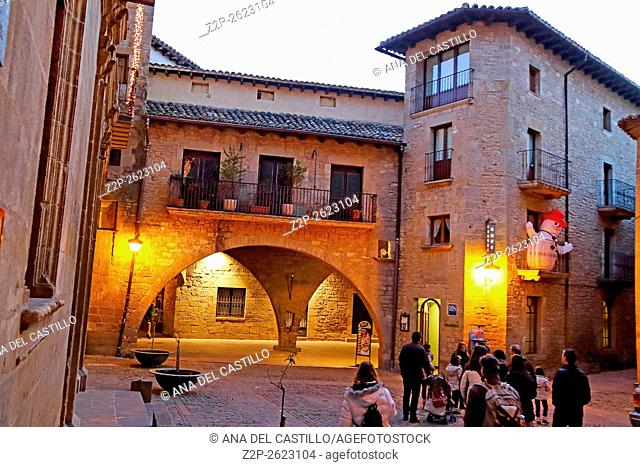 Sos del Rey Catolico medieval village by night in Saragossa, Aragon, Spain