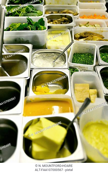 Variety of ingredients in containers
