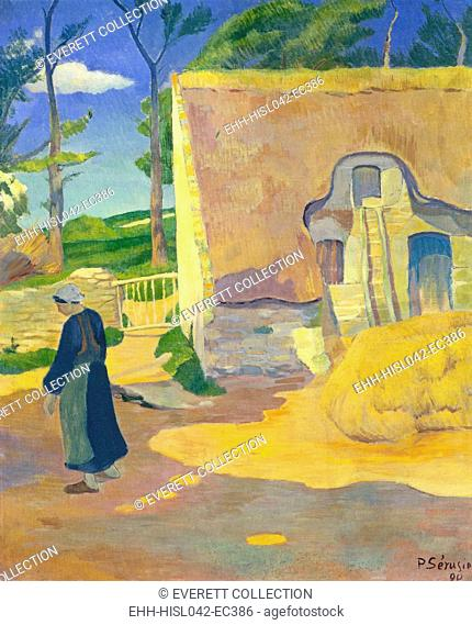 Farmhouse at Le Pouldu, by Paul Serusier, 1890, French post-impressionist painting, oil on canvas. As a younger artist, Serusier joined Gauguin's circle which...