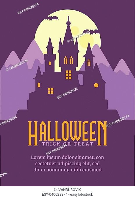 Halloween poster with dark vampire castle in the mountains. Fantasy flat illustration banner with text. Trick or treat. Dark gothic fairytale background