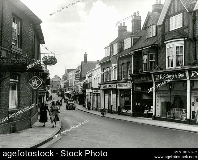 Winchester Road, Basingstoke, Hampshire, England, with its busy parade of individual shops