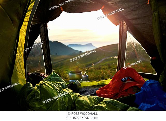 Tent with view of mountains, Manigod, Rhone-Alpes, France
