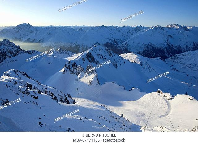 View from the Valluga in the morning light in winter, at the Arlberg, Lechtaler Alps, Tyrol, Austria