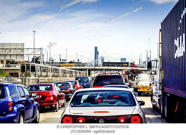 Traffic congestion on the expressway towards downtown Chicago Illinois IL