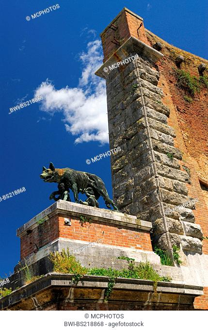 statue of she wolf suckling Romulus and Remus at old city gate in Siena , Italy, Tuscany, Siena