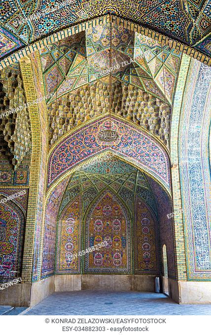 ornaments in Nasir ol Molk Mosque (Pink Mosque) in Shiraz city in Iran