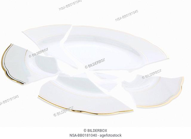 A broken plate lies on a white background