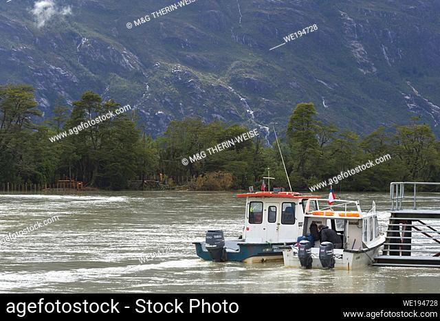Anchored Boat, Caleta Tortel, Aysen Region, Patagonia, Chile