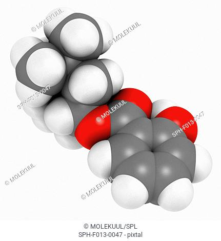 Homosalate sunscreen molecule (UV filter). Atoms are represented as spheres with conventional colour coding: hydrogen (white), carbon (grey), oxygen (red)