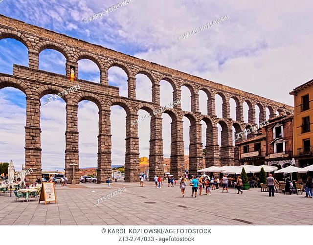Spain, Castile and Leon, Segovia, Old Town, View of The Roman Aqueduct of Segovia.