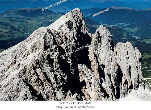 Langkofelgruppe, wall bars, Plattkofel, the Dolomites, aerial picture, high mountains, Trentino, Italy