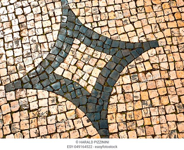 view on typical Lisbon floor, ornaments typical of this city, Portugal
