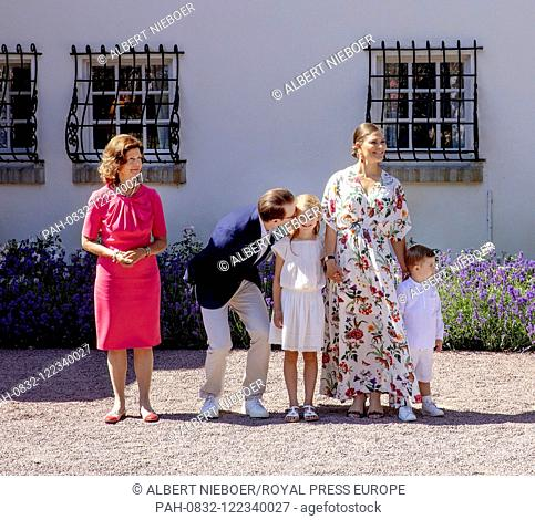 Queen Silvia, .Crown Princess Victoria and Prince Daniel, Princess Estelle and Prince Oscar of Sweden at Solliden Palace in Borgholm, on July 14, 2019