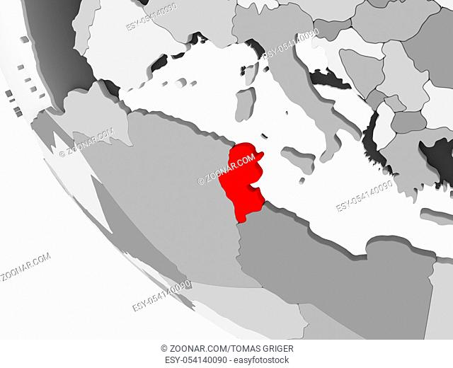Tunisia in red on simple grey political globe with visible country borders and transparent oceans. 3D illustration