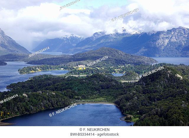 view from Cerro Campanario onto Laguna El Trebol, Lago Perito Moreno, Llao Llao, in the back Lago Nahuel Huapi; near San Carlos de Bariloche, Argentina