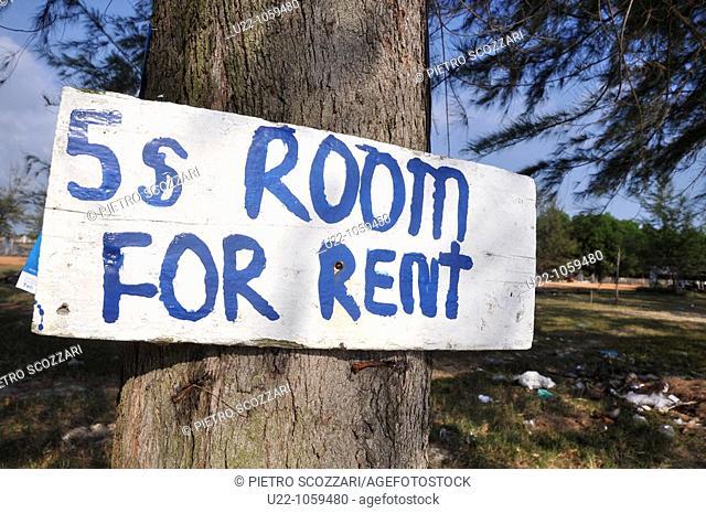 Sihanoukville (Cambodia): a renting rooms sign at Otras Beach