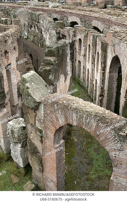 Italy, Rome. Colosseum, Amphitheater, arena step
