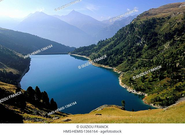 France, Savoie, Haute Maurienne valley, Aussois, the dam lake of Plan d'Amont
