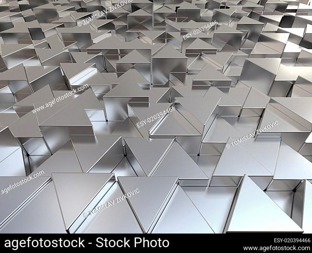 Shiny triangular metal bars background