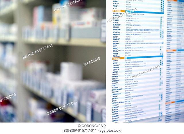 Pharmacy. Medicine in shelves. France