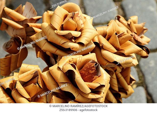 Flowers made with birch bark, craft market. Vyborg, Vyborgsky District, Leningrad Oblast, Russia, Russian Federation