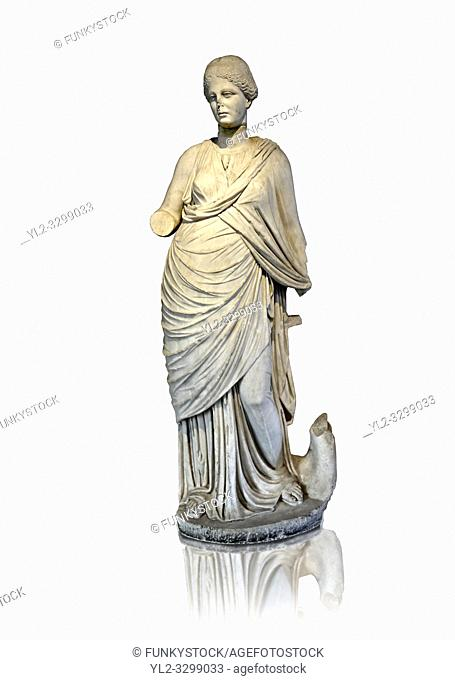 Marble Roman Statue of the Muse of Music ( Euterpe ) playing the lyre. , 2nd cent. AD, from Miletus (Balat, Soke ). Istanbul Archaeological museum Inv 2002 T