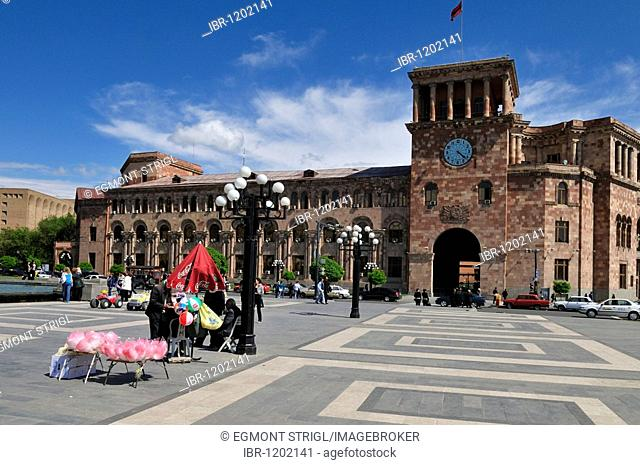 Public building, Republic Square at downtown Yerevan, Jerewan, Armenia, Asia