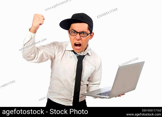 Young funny male programmer isolated on white