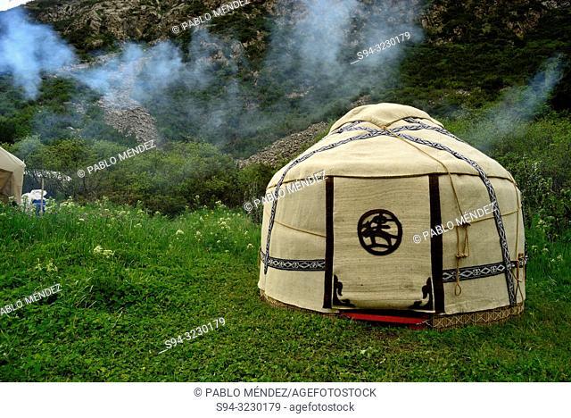Yurt in Sirota Hut camp, trekking to Ala Kol lake, Karakol valley, Kyrgyzstan