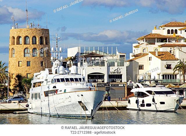 Marbella (Spain). Yacht moored in Puerto Banus