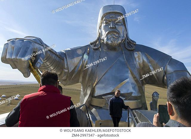 People on the observation platform in the head of the horse of the Genghis Khan Equestrian Statue (130 feet tall), which is part of the Genghis Khan Statue...
