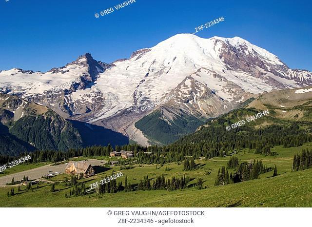 Mount Rainier from Yakima Park in the Sunrise area of Mt. Rainier National Park, Washington