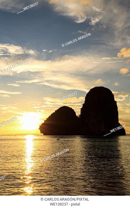 Ko Rang Nok in the sunset, Railay Beach of Krabi, Thailand