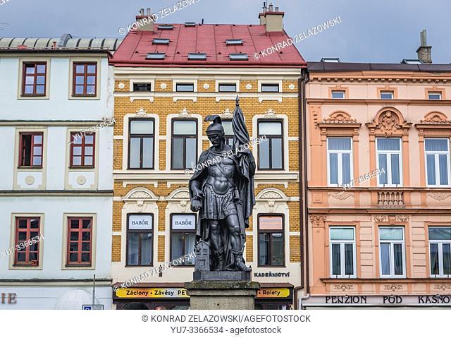 Fountain sculpture on the Town Square in Frydek-Mistek city in the Moravian-Silesian Region of Czech Republic