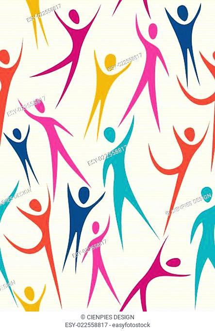 Embrace diversity seamless pattern set